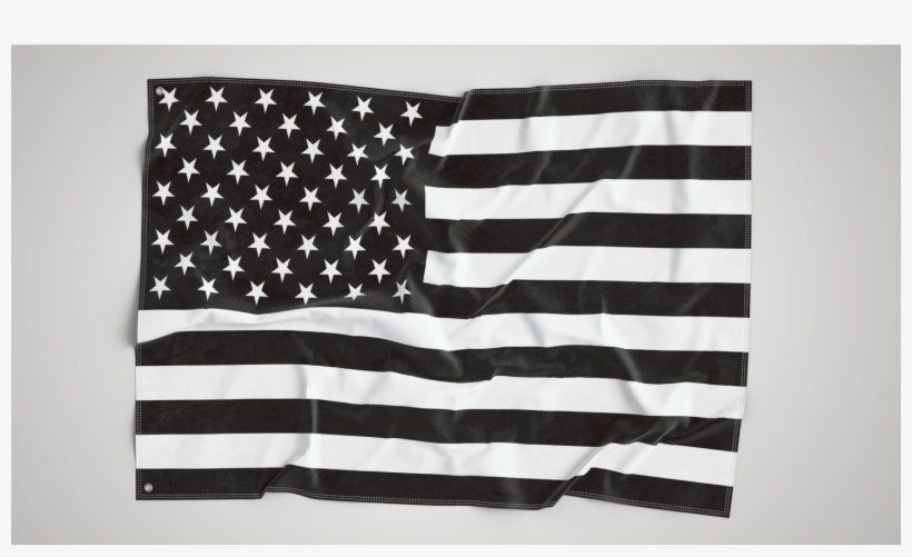 B&w American Wall Flag - Usa Flag, transparent png #3789161
