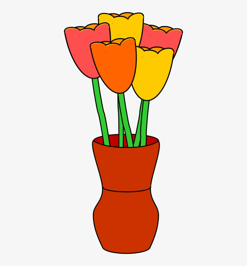 Yellow Tulip Clipart - Flowers In A Vase Clipart, transparent png #3796469