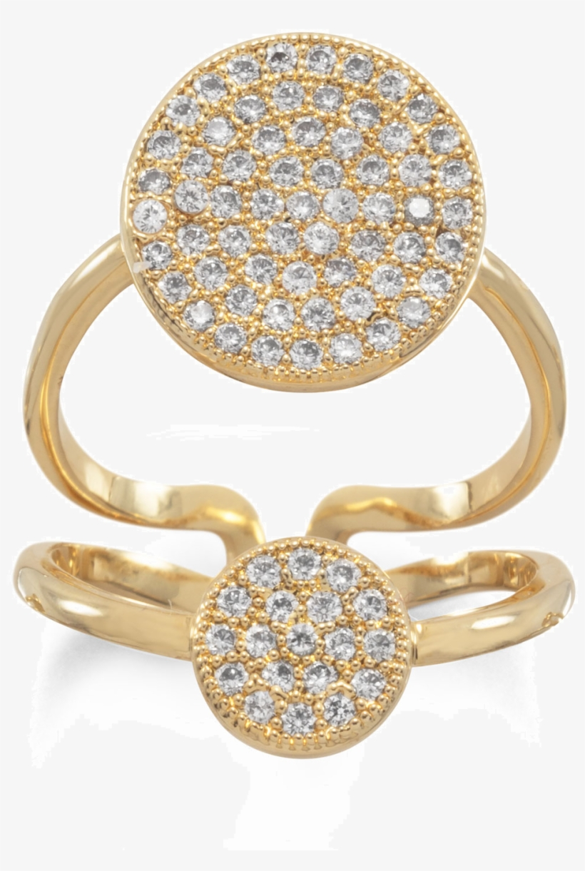14 Karat Gold Plated Double Cz Circle Fashion Ring, transparent png #380823