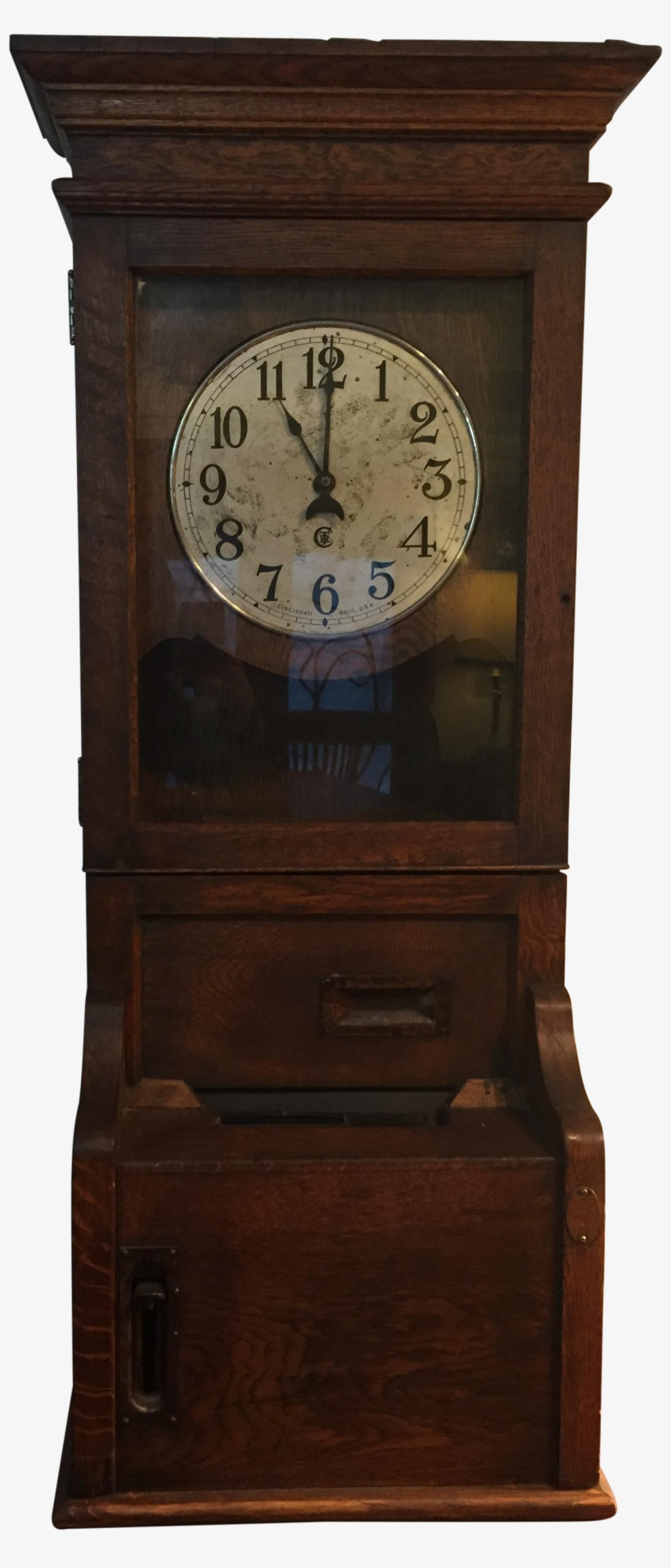 Antique Time Clock Punch Recorder Made Of Quartersawn - Clock, transparent png #3802493