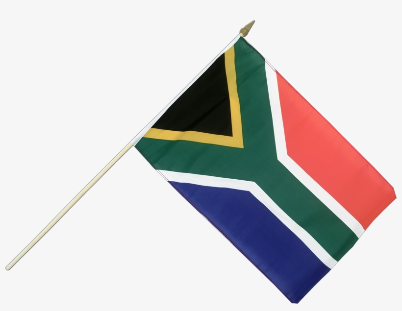 """Hand Waving Flag 12x18"""" - South African Flag With Pole, transparent png #3806959"""