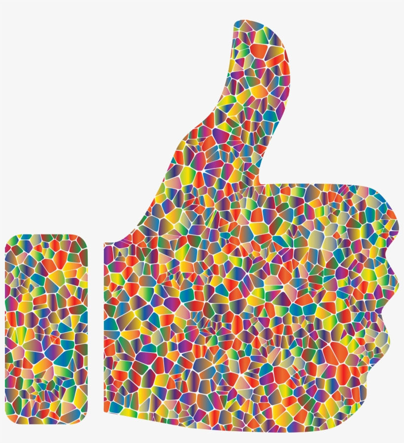 Clipart Thumbs Up Down Clipart - Rainbow Thumbs Up Emoji, transparent png #3832439