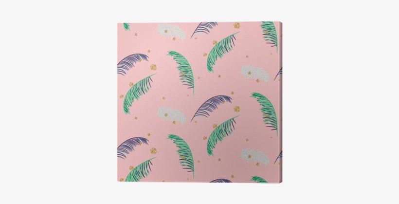 Green Blue Banana Palm Leaves Seamless Vector Pattern - Banana, transparent png #3851407