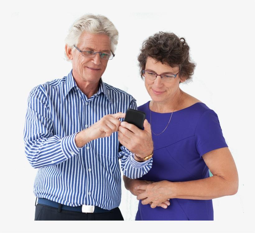 Old Couple On Phone - Cursos De Redes Sociales Para Adultos, transparent png #3852558