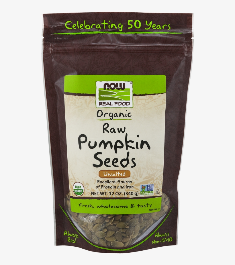 Pumpkin Seeds, Raw Organic - Now Foods Organic Pumpkin Seeds, 12 Ounce, transparent png #3864360