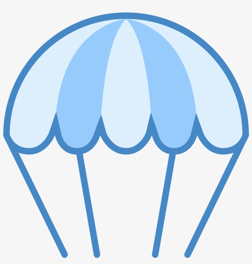 A Parachute Icon Has A Shape That Is The Top Half Of - Parachute Clipart In Blue, transparent png #3870254