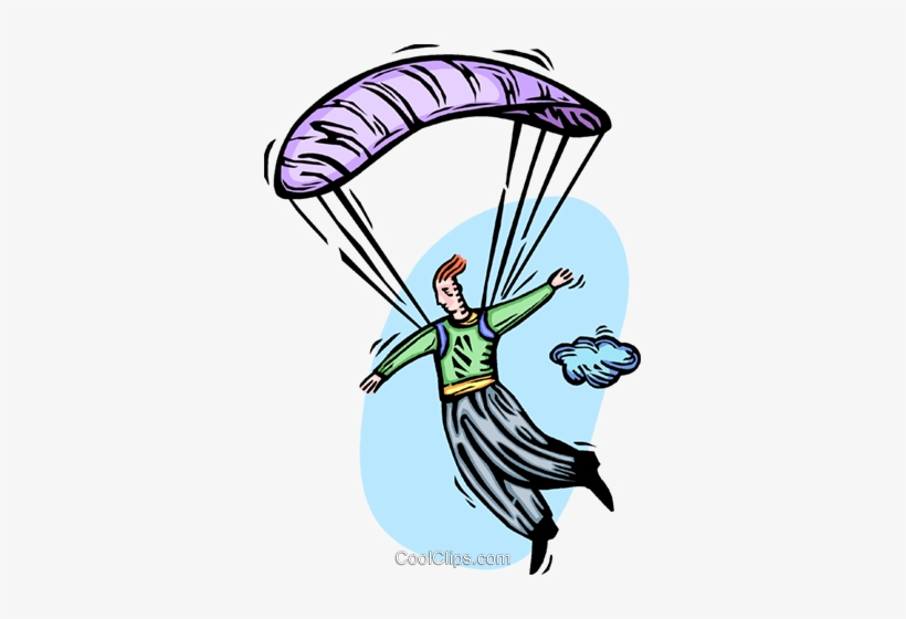 Man Floating To Earth With A Parachute Royalty Free - Parachute, transparent png #3870795