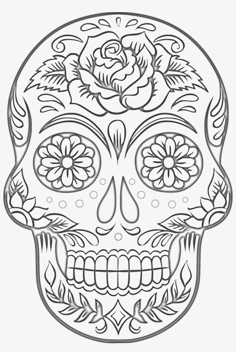 Free Sugar Skull Coloring Page - Dibujos De Dia De Muertos Para Colorear, transparent png #3878550