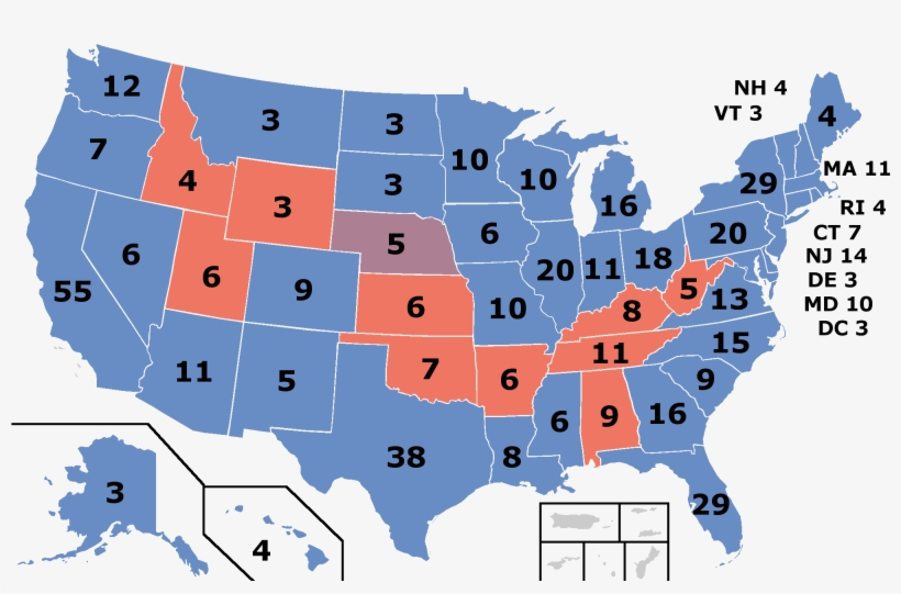 Red Denotes States Won By Palin/huckabee , Blue Denotes - Election Day Results Map 2016, transparent png #3881524
