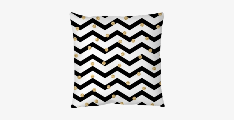 Chevron Zigzag Black And White Seamless Pattern With - Black White And Gold Chevron, transparent png #3881906