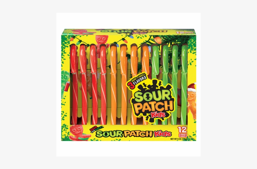 Sour Patch Kids 12 Super Sour Candy Canes 150g - Sour Patch Kids Big Kids Candy 9 Oz. Pouch, transparent png #3882428