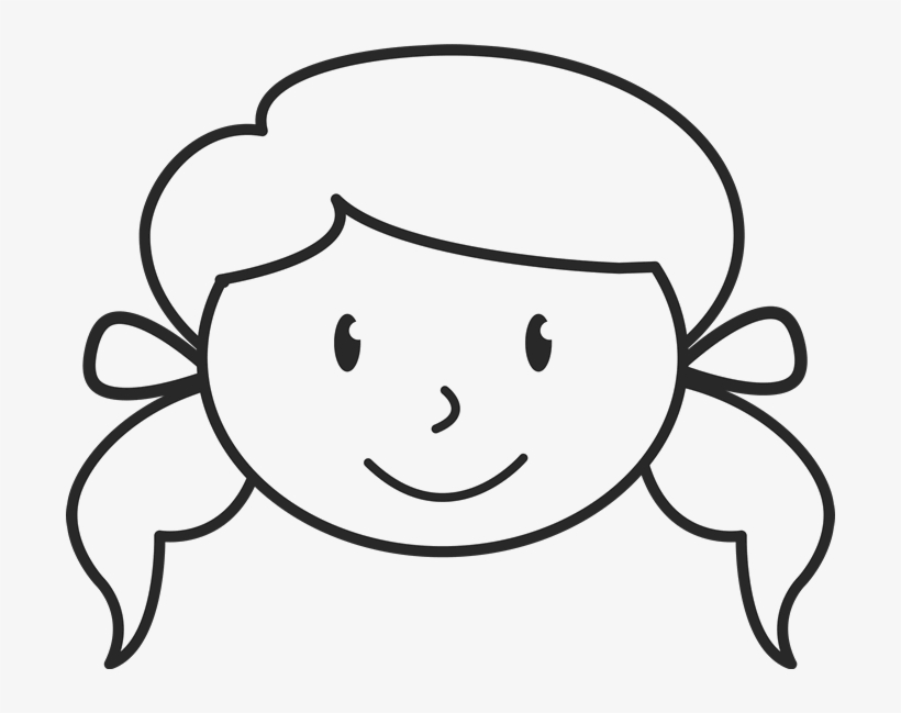 Girl With Pigtails And Bows Face Stamp - Stick Figure Girl Face, transparent png #3887040
