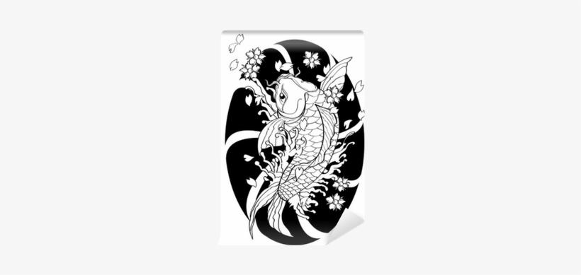 Vector Illustration Graphic Background Koi Fish Tattoo - Koi Fish Tattoo Vector, transparent png #3895391