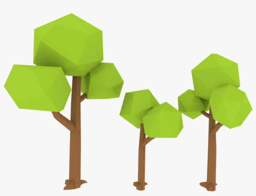 Low Poly Trees 3d Model - Tree Low Poly 3d Model - Free Transparent