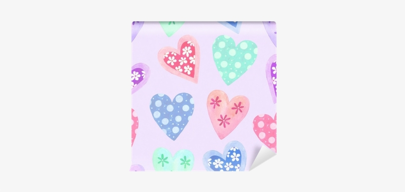 Watercolor Seamless Pattern For Valentine's Day Wall - Watercolor Painting, transparent png #390399