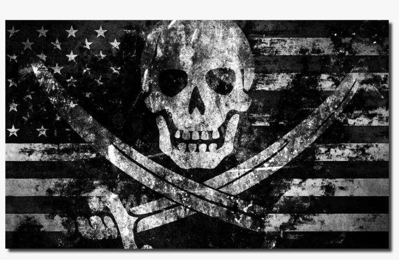American High Seas Raider Flag Decal - Jolly Roger Pirate Flag Skull Art 24x18 Print Poster, transparent png #393461