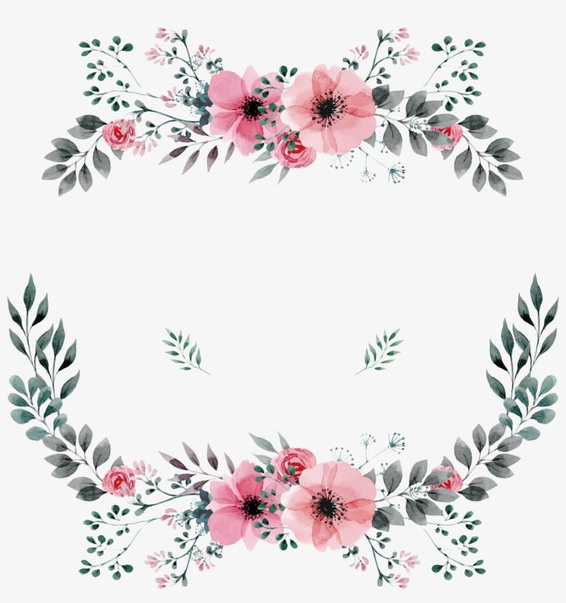Flower Frame, Corona Floral, Wreath Watercolor, Floral - Bảng Tên Cô Dâu Chú Rể, transparent png #395820