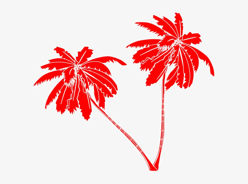 Red And White Palm Trees Clip Art At Clker - Red Palm Trees Png, transparent png #398851