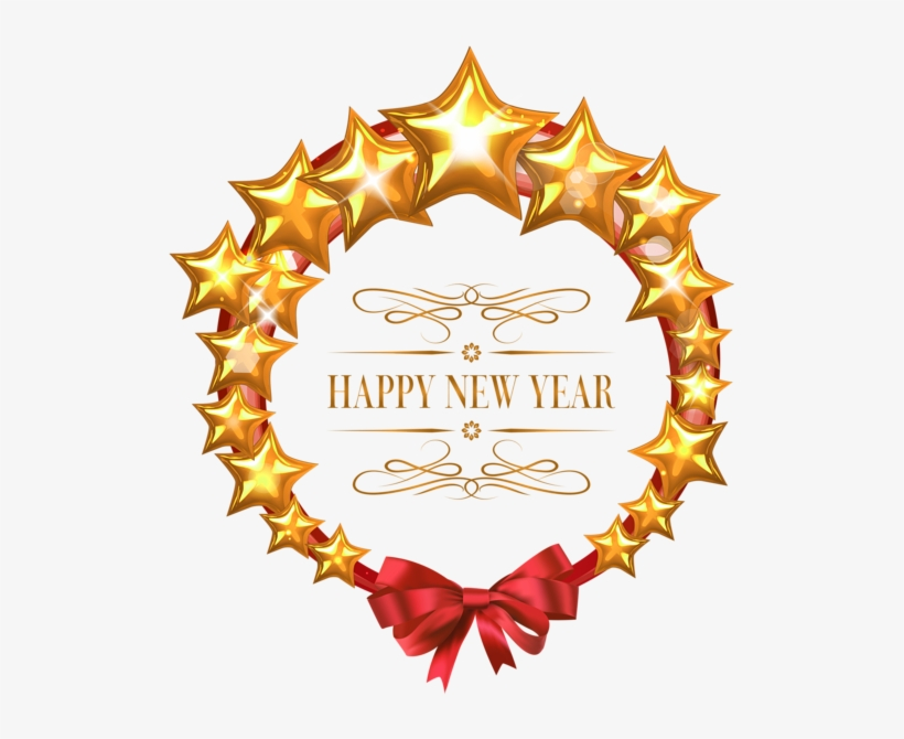 Happy New Year Stars Oval Decor Png Clipart Image - Frame Happy New Year Png, transparent png #3900330