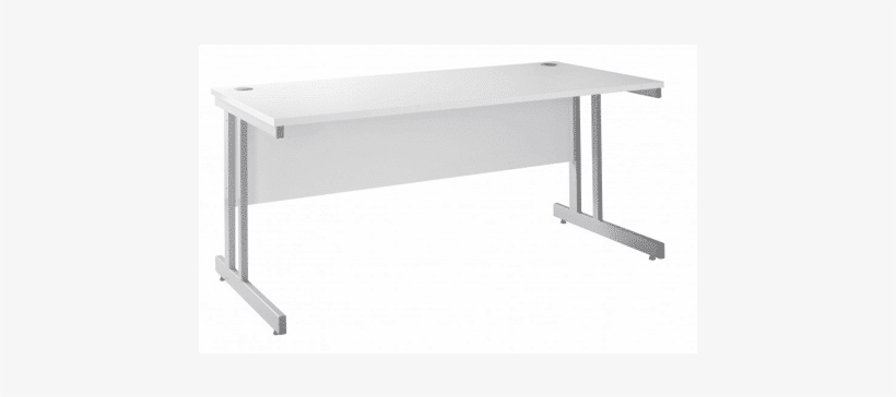 White Straight Cantilever Desk - White Office Desk 800mm Wide, transparent png #3901893