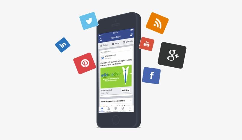 Social Iphone Illustration - Phone Social Network Png, transparent png #3908170