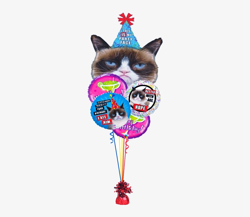 """Grumpy Cat Birthday Bouquet - 36"""" Foil Licensed Shape Grumpy Cat Party Face Balloon, transparent png #3917894"""