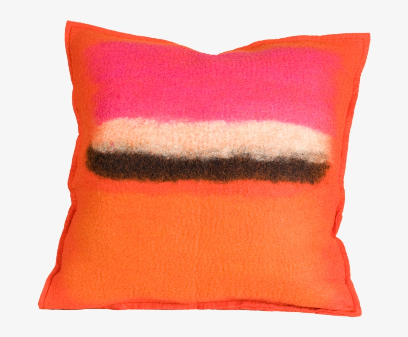 Persimmon Pillow, Felt Pillow - Abstract Persimmon Color Splash Felted Wool Throw Pillow, transparent png #3922307