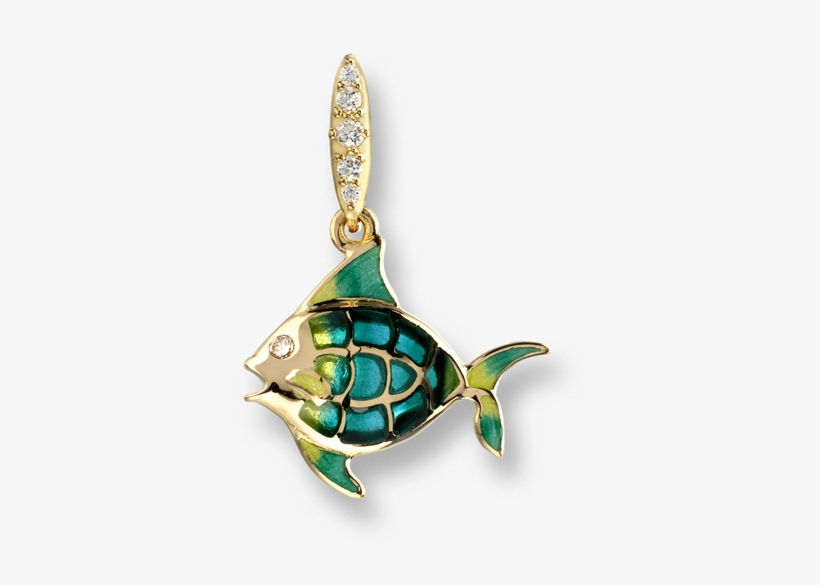 Nicole Barr Designs 18 Karat Gold Angel Fish Necklace-turquoise - Nicole Barr Diamonds Turquoise Gold Fish Stud Earrings, transparent png #3925399