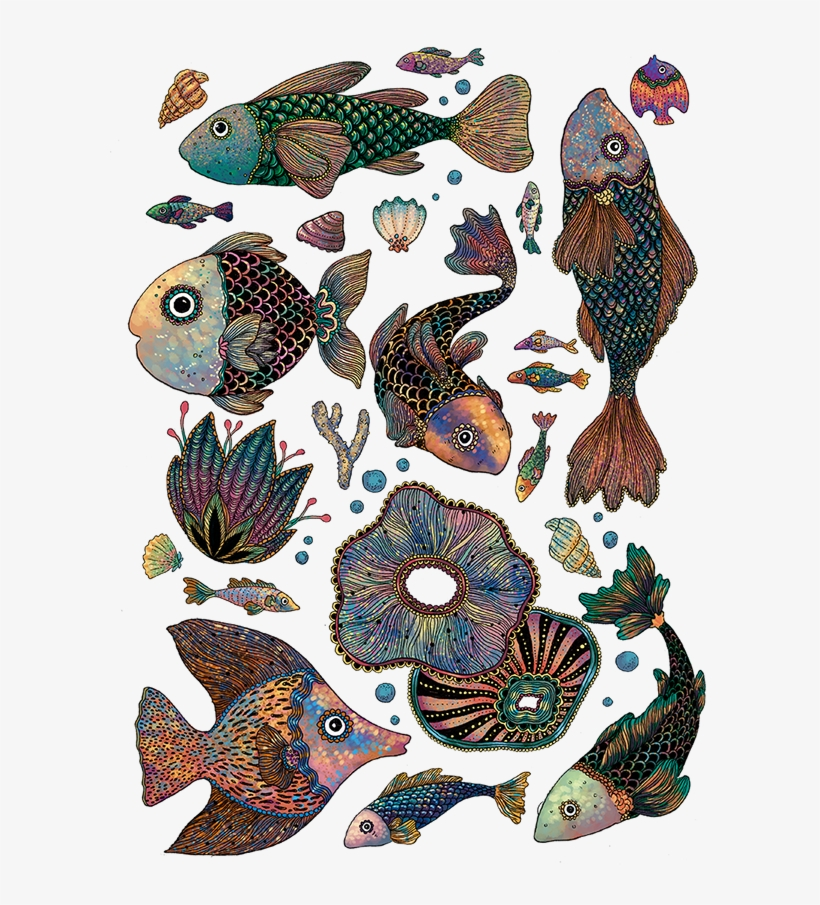 This Series Of Sea Creatures Drawings Were Made For - Coral Reef Fish, transparent png #3932568