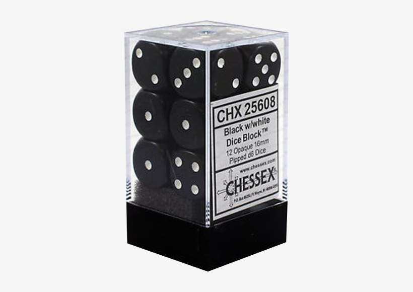 Chessex Black W/white Opaque 16mm D6 Dice Block - D6 Dice Cirrus 16mm Light Blue/white (12 Dice In Display), transparent png #3933196