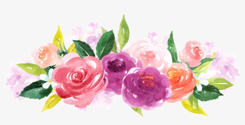 Hand Painted Colorful Flower Png Transparent - Animals And Flowers Watercolor, transparent png #3938743