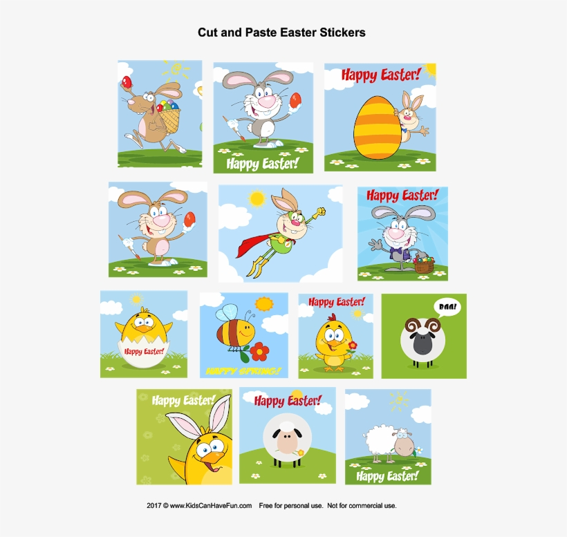 Kids Can Cut Out These Cute Easter Stickers And Paste - My First Easter Bunny Coloring Book, transparent png #3947833