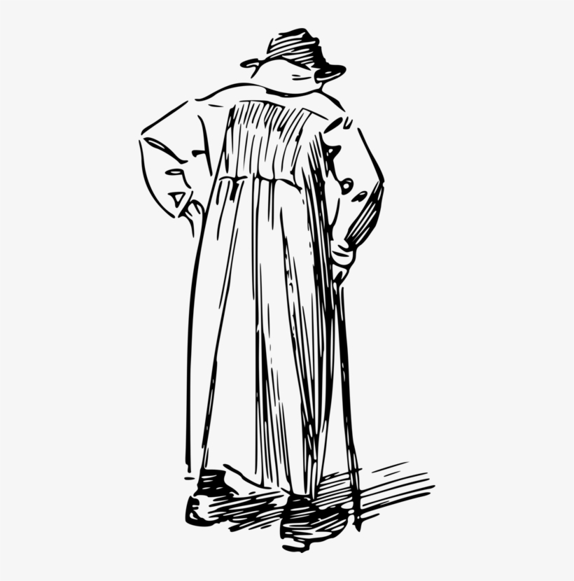 Drawing Computer Icons Walking Stick Man Old Age - Drawing Of A Old Man Walking With Cane, transparent png #3952642