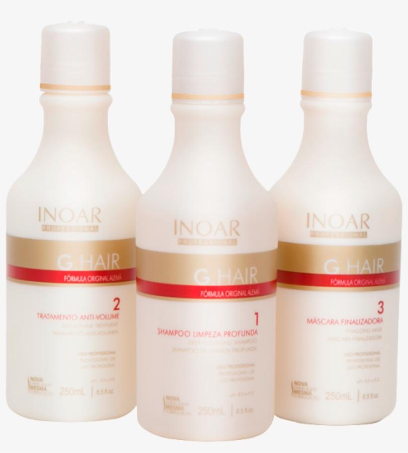 Inoar G Hair Limpeza Profunda 3 X 250ml - Inoar Brazilian G Hair Blow Dry Kit, transparent png #3954446