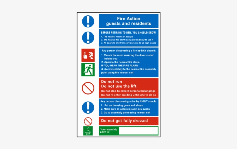 General Fire Action Notice Sticker - Hotel Room Safety Signs