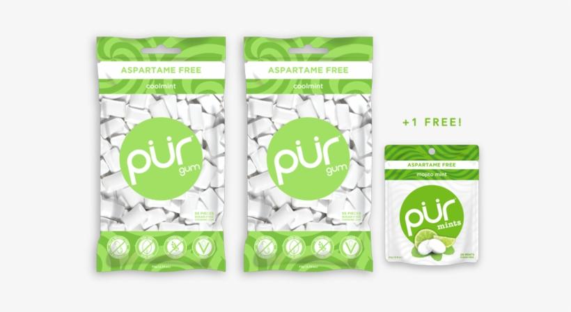 Buy 2 Gum Bags, Get 1 Mint Pouch Free - Pur - Aspartame Free Chewing Gum Bubble Gum - 55 Pieces, transparent png #3963375