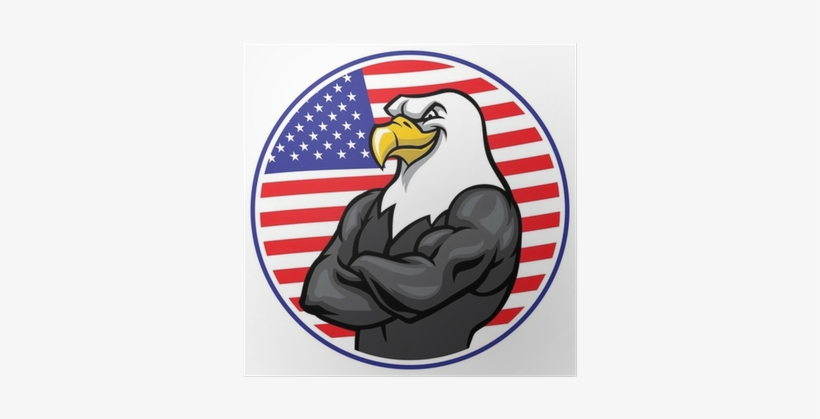 Eagle Mascot Show The Muscle With American Flag Background - Statue Of Liberty New York Bumper Sticker 4x4, transparent png #3970477