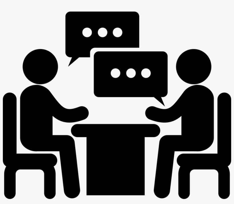Men Couple Sitting On A Table Talking About Business - 2 People Talking Icon, transparent png #3978250