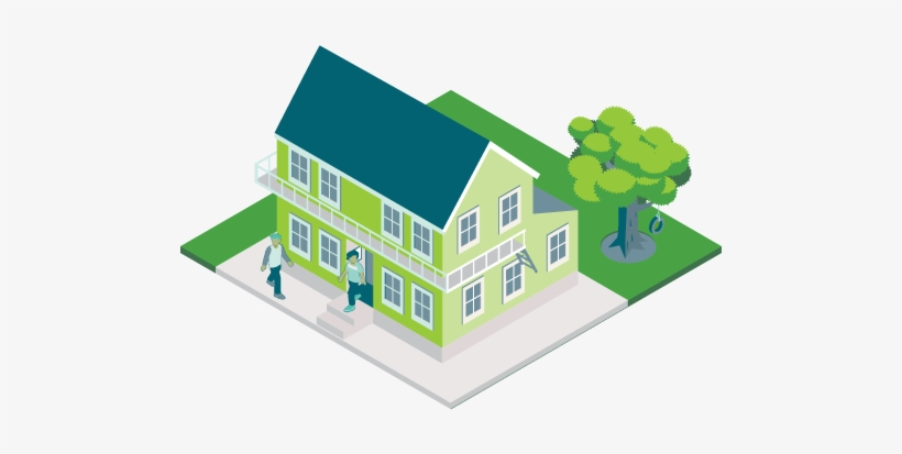 Image Of Two Story House With Tree And People - Houses Without Background, transparent png #3981659