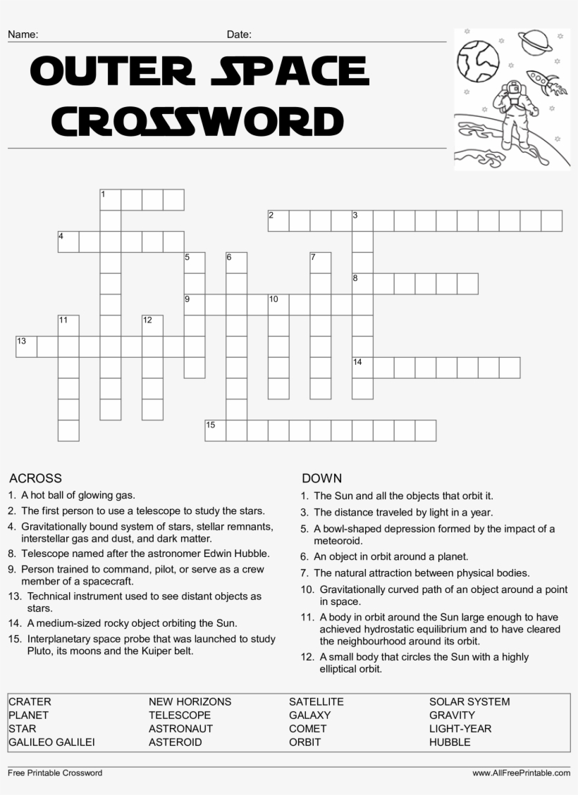 Crossword Puzzle Printable Template Crosswords Lovely Outer Space