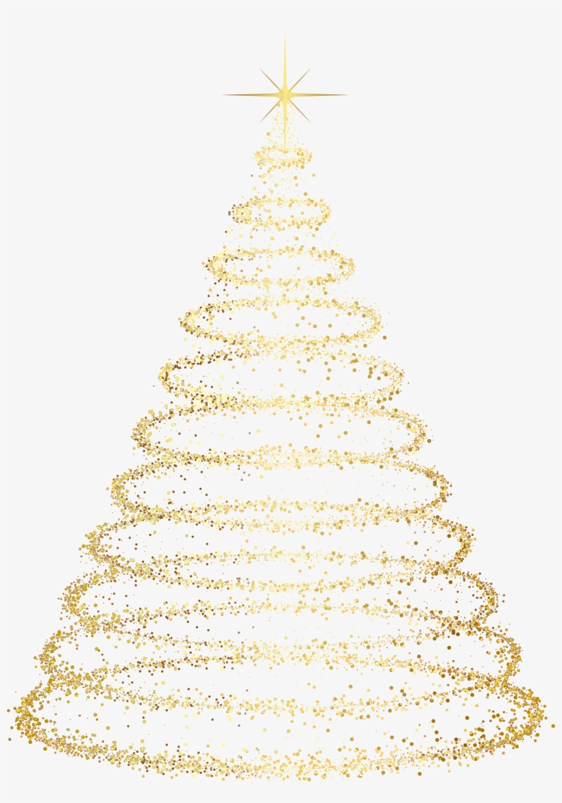 Gold Deco Christmas Tree Transparent Clip Art Image - Christmas Tree Png Transparent Background, transparent png #41701