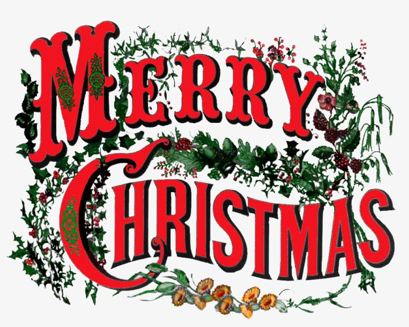 Merry-christmas - Victorian Merry Christmas A Vintage Christmas Card, transparent png #41724
