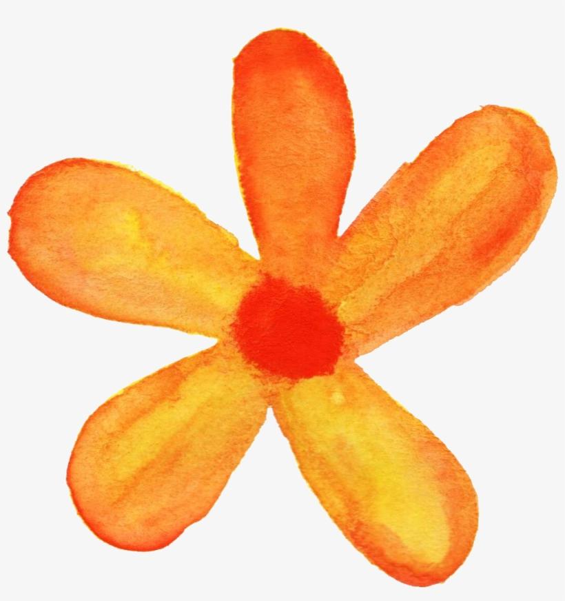 Flower Png Watercolor - Orange Flower Watercolor Png, transparent png #42061