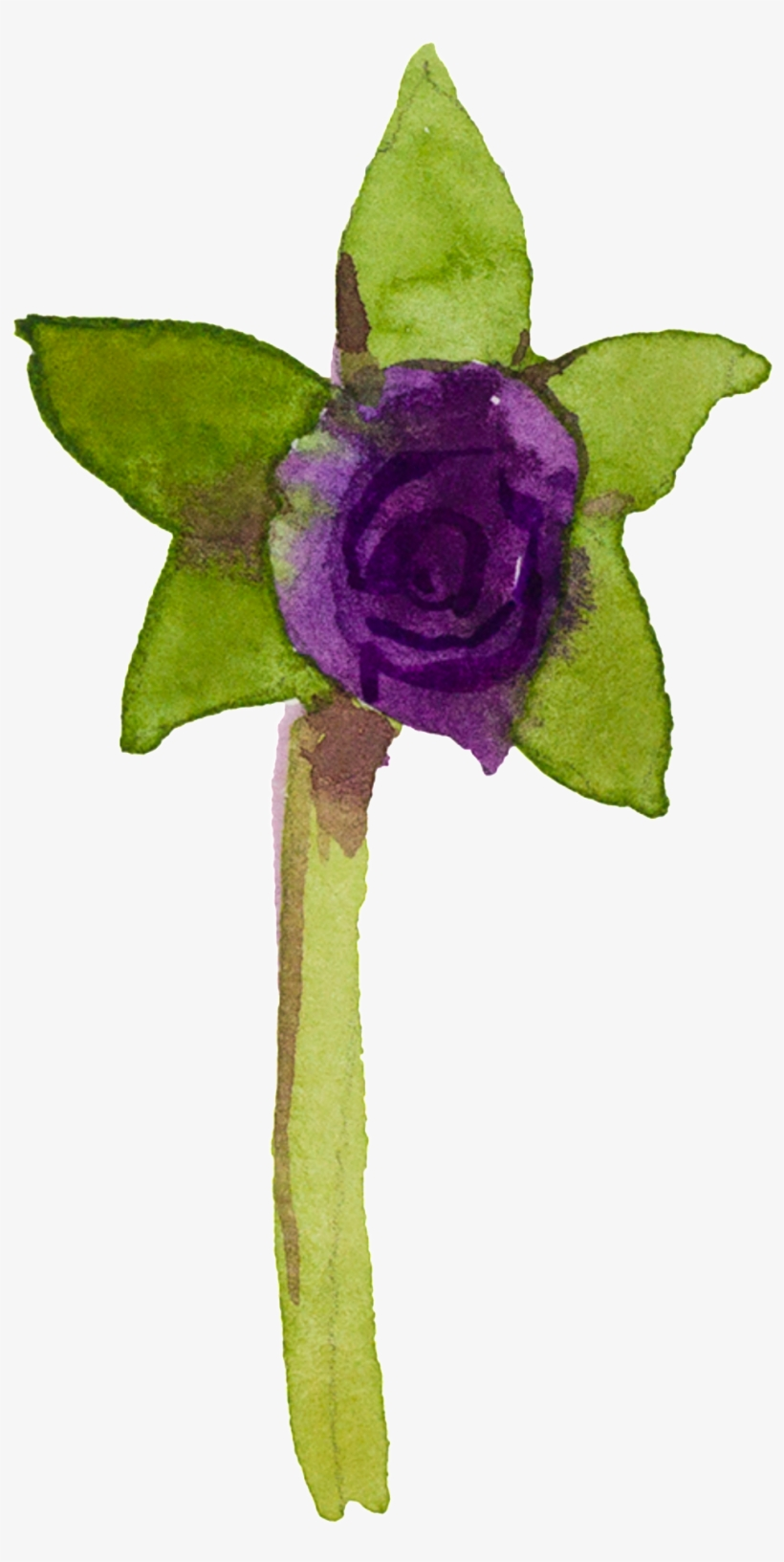 Purple Hand Painted Small Flower Watercolor Transparent - Watercolor Painting, transparent png #43904