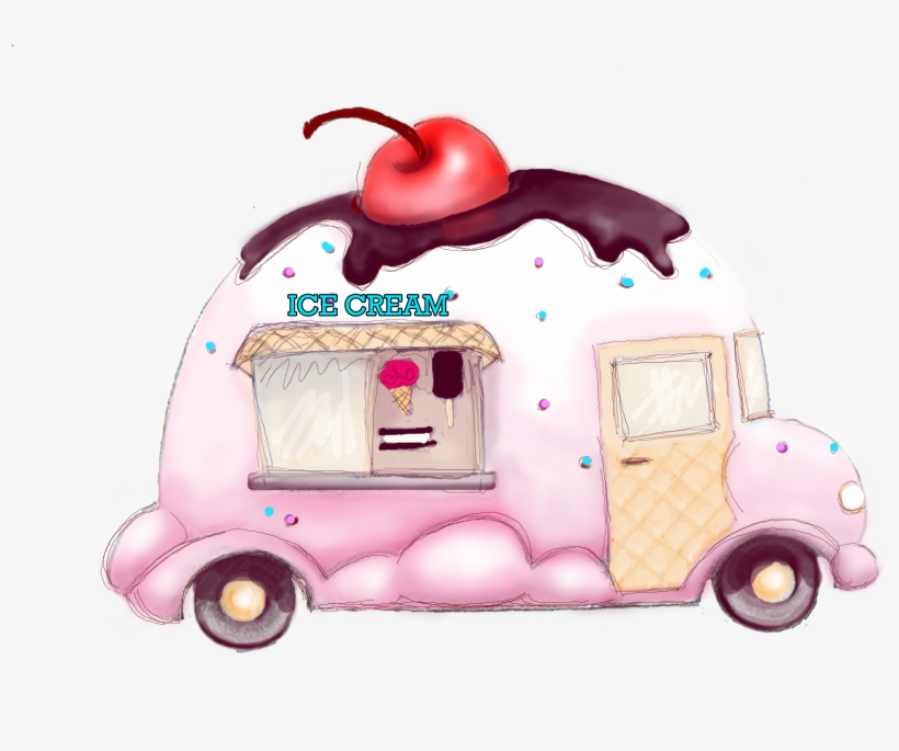 Ice Cream Art - Ice Cream Truck Drawings, transparent png #44139