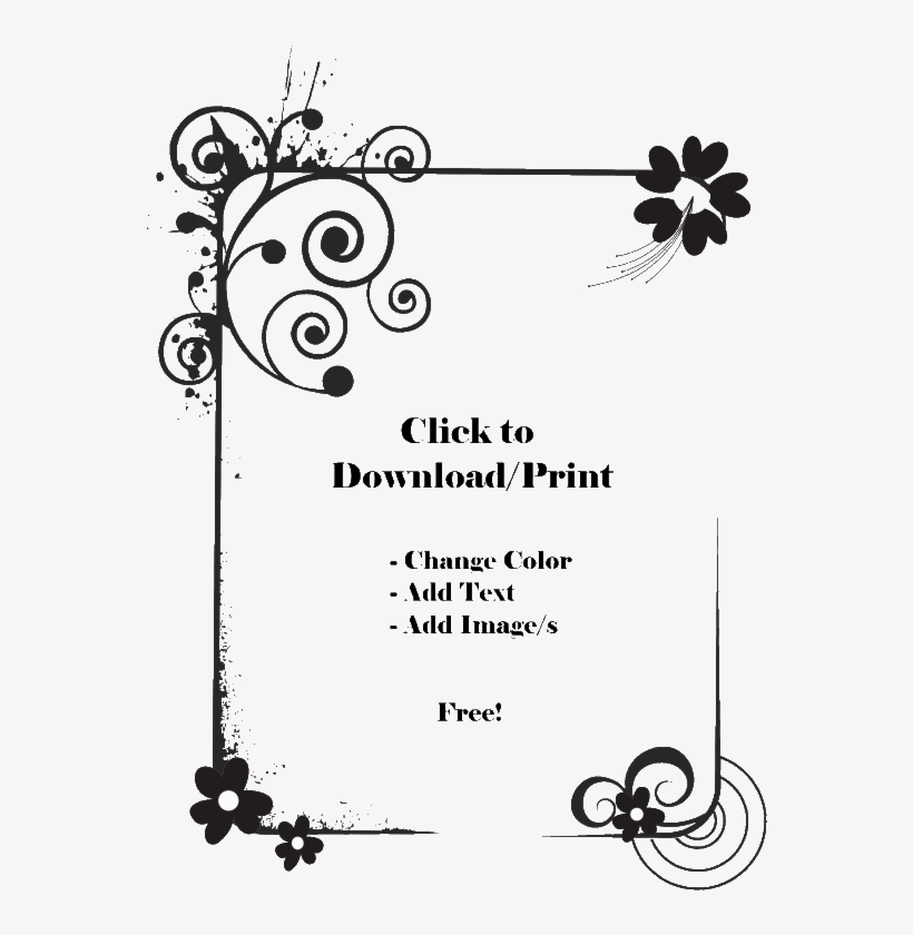 Printable Flower Border Png Floral Border Design Black And White