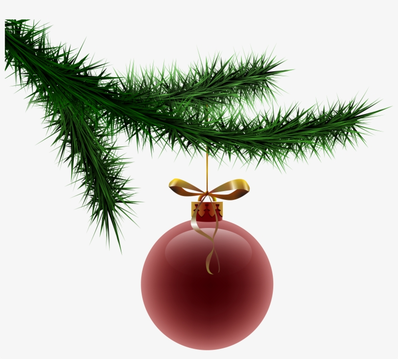 Branch Clipart Christmas - Pine Branch With Ornament, transparent png #45585