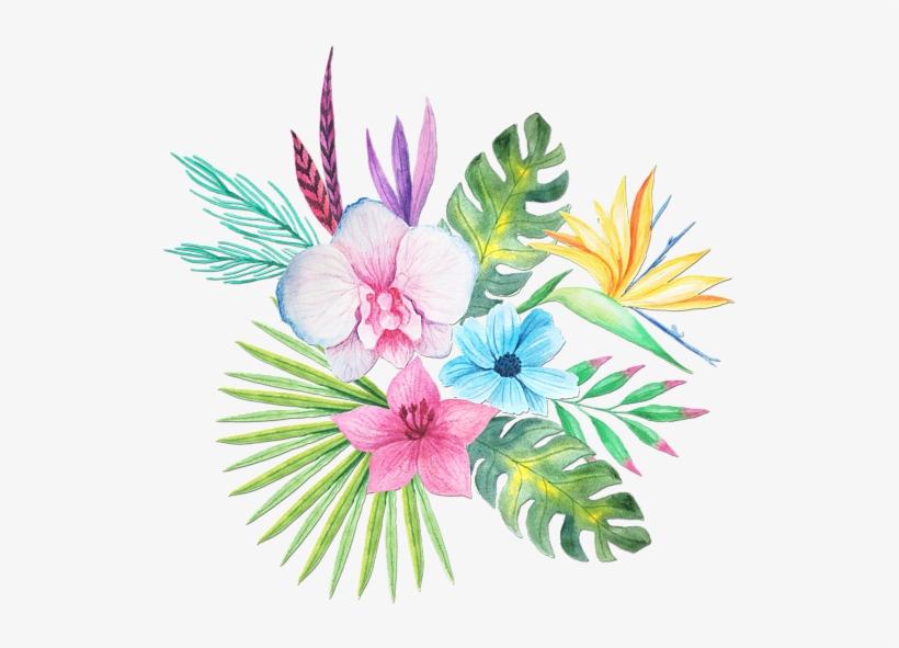 Tropical Watercolor Png Clip Art Transparent - Tropical Watercolour Flowers Png, transparent png #46053