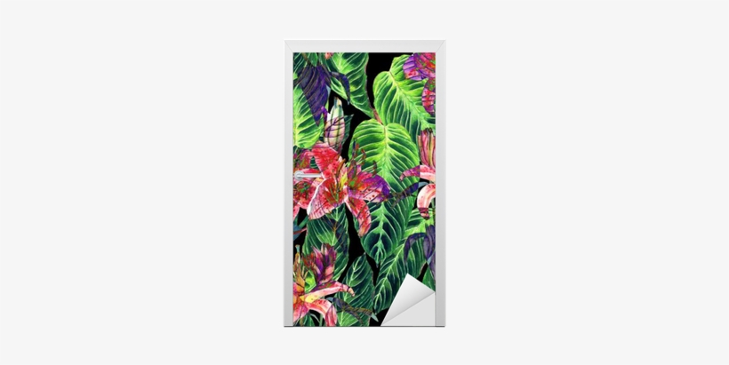Pink Lilies And Exotic Calathea Leaves On Black Background, - Watercolor Painting, transparent png #48878