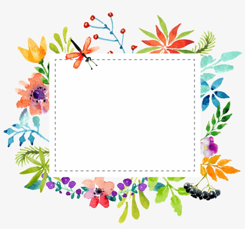 Watercolor Floral Geometric Frame Png